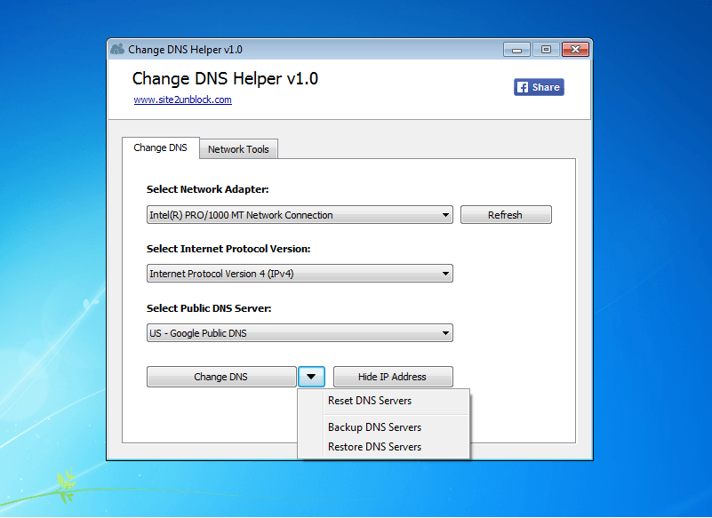 Change DNS Helper - Interface