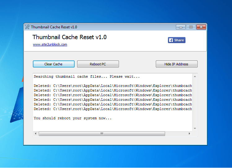 Thumbnail Cache Reset - Interface