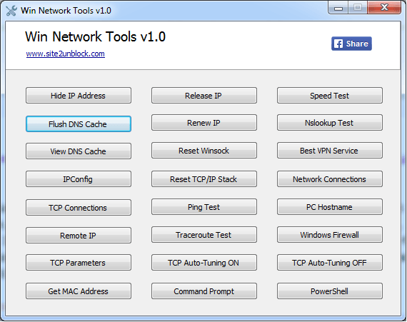Win Network Tools - Interface