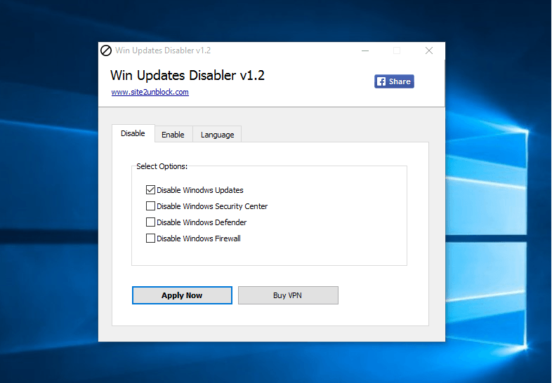 Win Updates Disabler - Interface